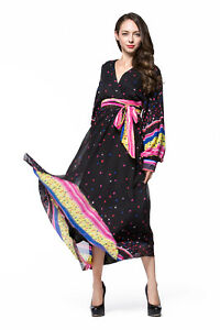 Women Summer plus Size Chiffon Long Color Wave Point Lantern ... 9927c1d7a443
