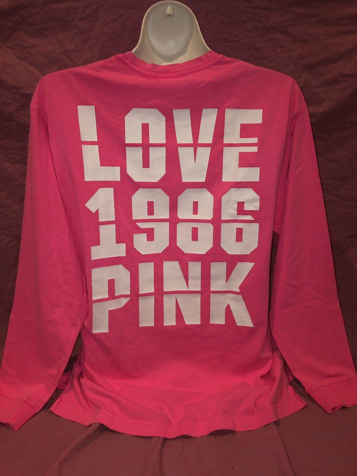 Victoria Secret Rosa Neon  Campus Long Sleeve OverGrößed Tee Logo  XL New ❤️