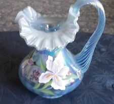 Fenton pitcher Misty Blue opalescent Iris Don Fenton signature 1997