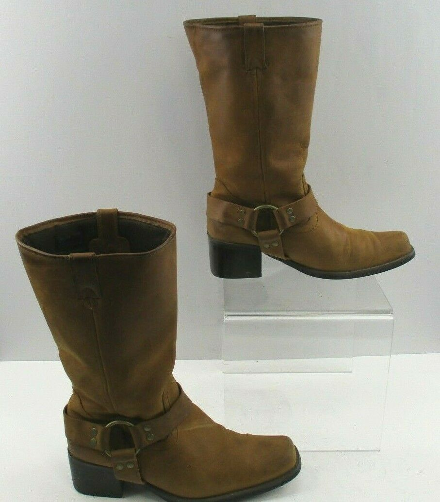 Ladies' Brown Suede Leather Snipped Toe Stirrup Western Cowgirl Boots Size: 9 ?