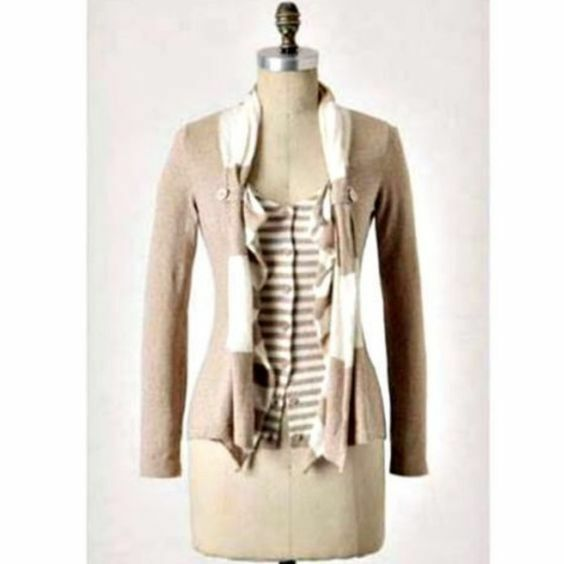 NEW  Anthropologie Moth Yemaya Beige Cardigan Sweater Size S