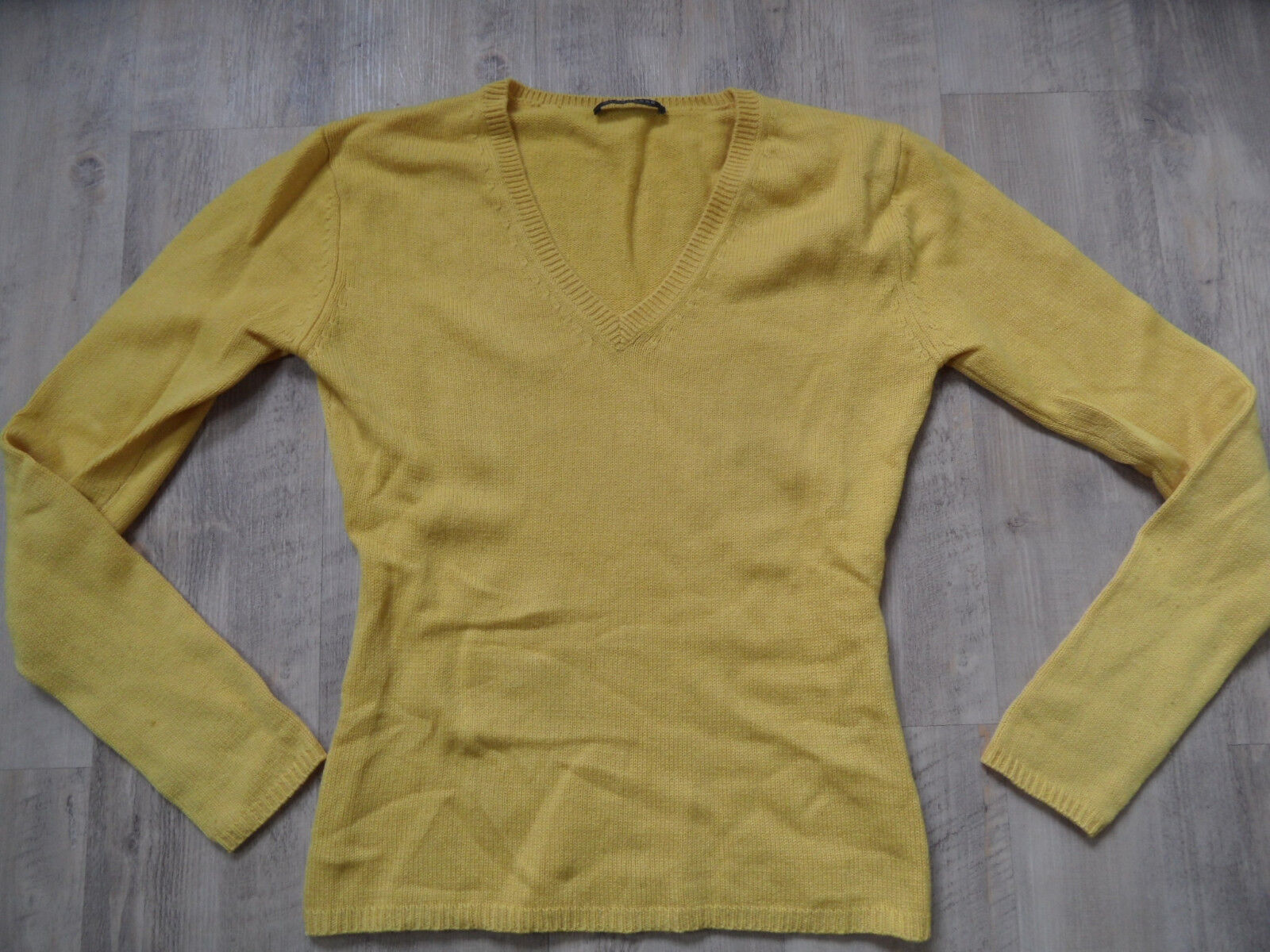 STRENESSE bel scollo a V Pullover 50% CASHMERE GIALLO GIALLO GIALLO TG. 38 Top kos418 425e90