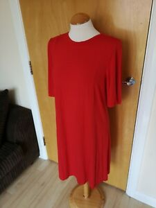 Ladies-M-amp-S-Dress-Size-16-Red-Jersey-Smart-Casual-Stretch-Tunic