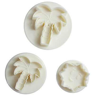 Embossing Mould 3pcs Coconut Palm Chocolate Cake Decorating Mold Cookies Cutters
