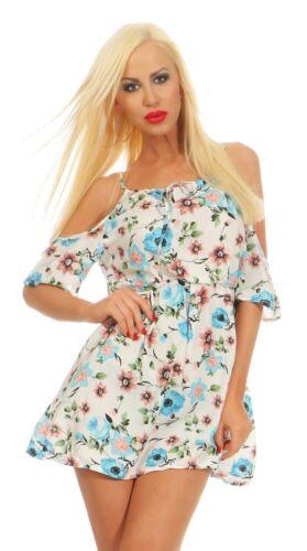10057 Leichtes Damen Mini Kleid Sommerkleid Schulterfrei Blumen Minikleid