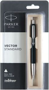 Blue Ink Black Body New Parker Vector Chrome Trim CT Rollerball Pen Roller Ball