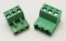 3 Pin 5mm Female Amp Male Connector Plug Pair Terminal Block Mating Set