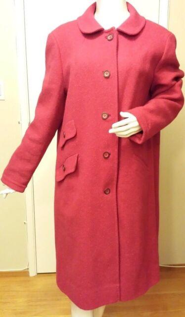 Vintage, Pendleton, 100% Wool, Fuchsia, Full Length, Basic Coat (Size Large)