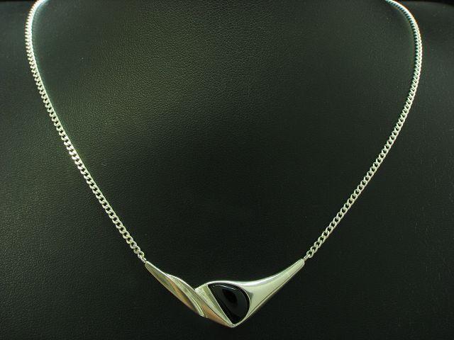 925 Sterling silver Collier mit Onyx Besatz   Echtsilver   42,9cm   7,3g