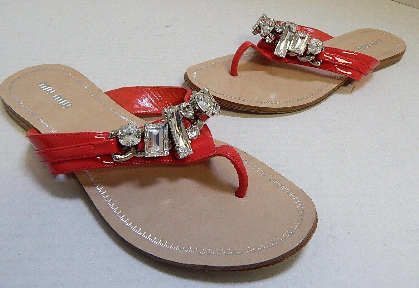 Miu Miu Coral Pink Patent Leather  Jeweled Flip Flip Flip Flop Sandals 37 US 6.5M be3624