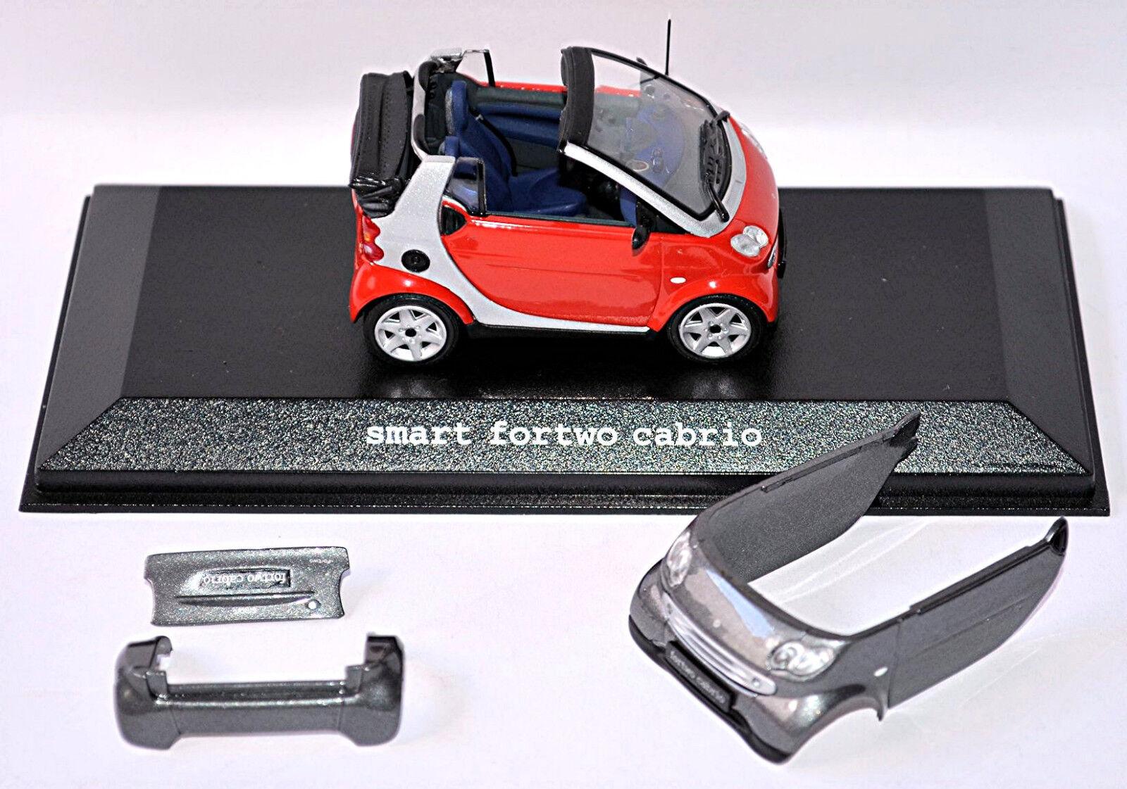 Smart Fortwo Cabrio 2003-07 Facelift A450 rot  grau phat rot  bay grau 1 43  | Gute Qualität