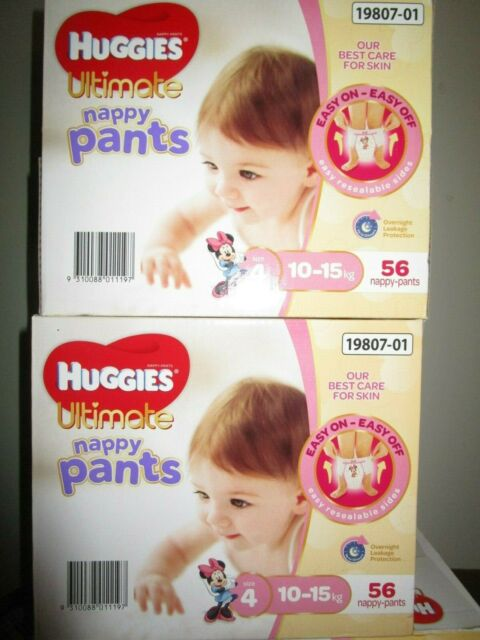 Huggies Ultimate Nappy Pants Nappies Girls Size 4  Toddler 10-15kg+     56 Count