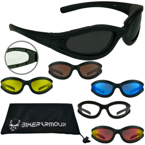 MOTORCYCLE Riding Sunglasses Foam Padded Wind Resistant Biker Glasses Small Size