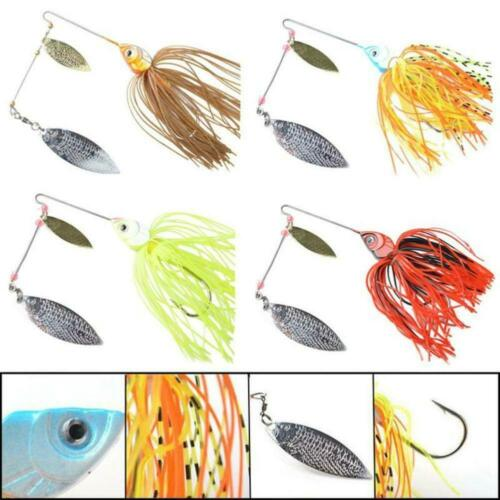 Details about  /1pcs Mixed Color Spinner Fishing Lures Hook Bass Tackle SH Cod Fish Skirt A3R6