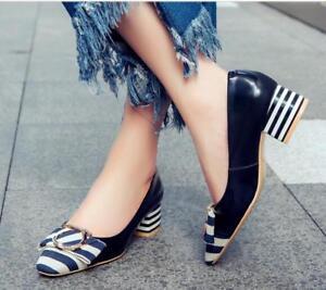 Bowknot Chaussures Mixte Pump À Couleur Talons Fashion Cuir Femmes Véritable Ol Plus Chunky vmN80wn