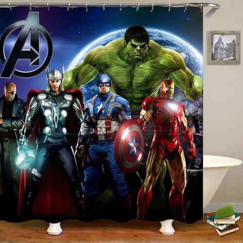 The Avenger Waterproof Fabric Shower Curtain Cartoon Bathroom Curtain With Hooks