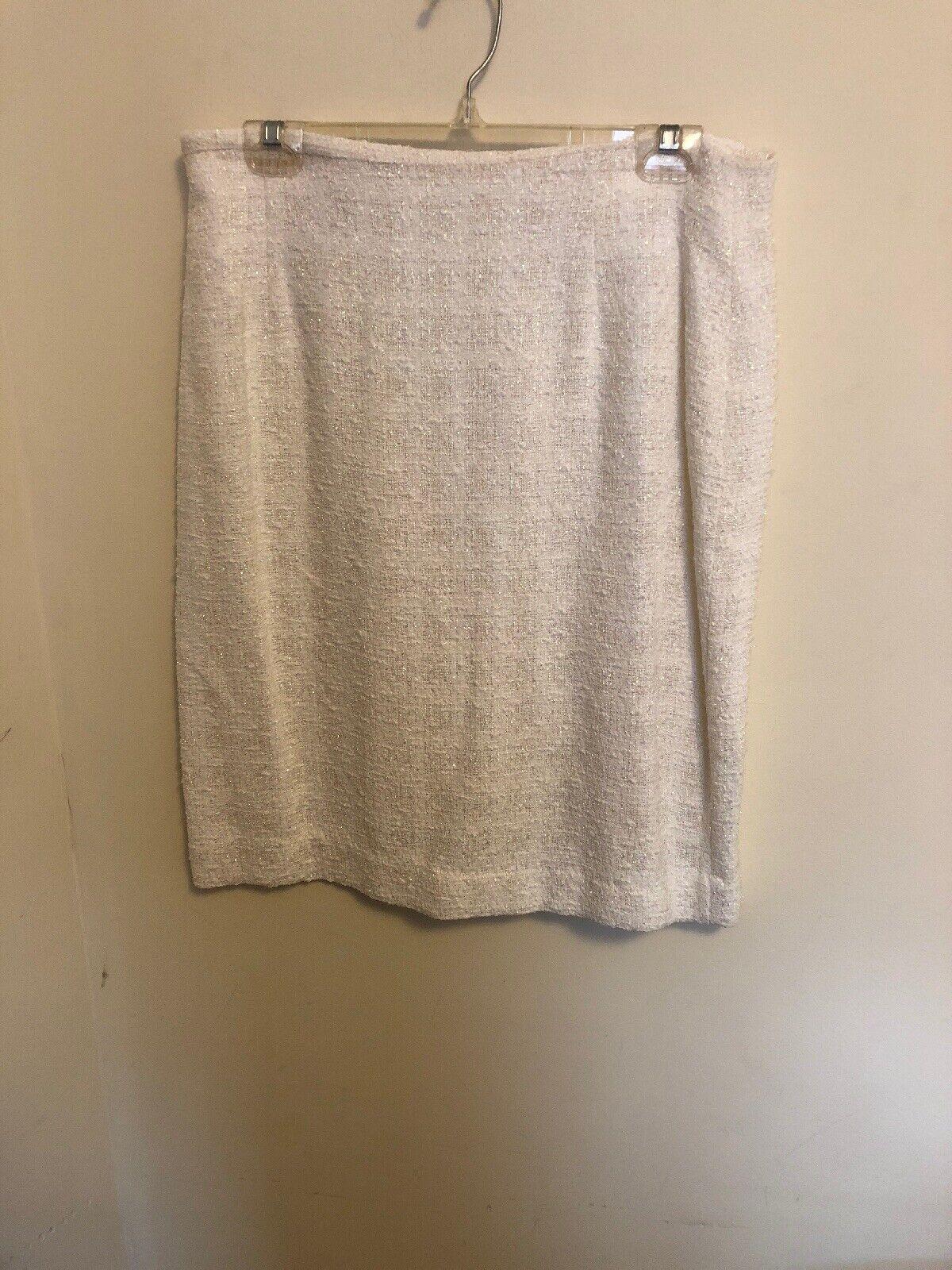 greenigo Paris Metallic Boucle Tweeded White Sparkle color Pencil Skirt SZ 42 10