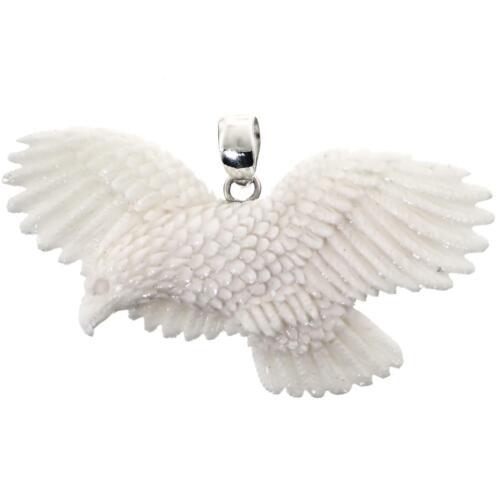 Details about  /HAND CARVING FLYING EAGLE BISON BONE 925 STERLING SILVER pendant