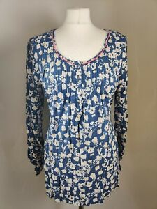 TU-Women-039-s-Top-Blouse-UK-14-Blue-Floral-Print-Viscose-Scoop-Neck-Long-Sleeve