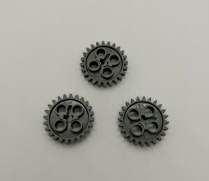 Lego 25 New Dark Bluish Gray Technic Gear 24 Tooth 2nd Version 1 Axle Hole