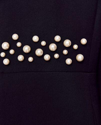 de perlas falda de Bnwt tamao imitaciᄄᆴn cintura marino la vestido azul chaqueta Zara de Xs de con Xwwz8BOq