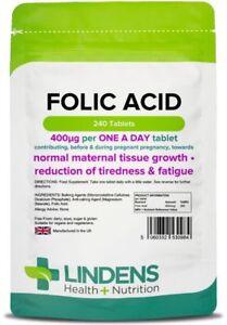 Folic Acid 400mcg - healthy pregnancy vitamins - (240 tablets) [Lindens 0984] 5060332530984