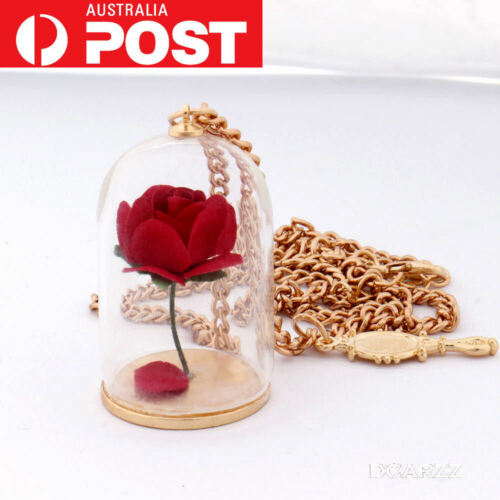 Enchanted Rose Disney Beauty and the Beast Belle Princess Gold Necklace Gift