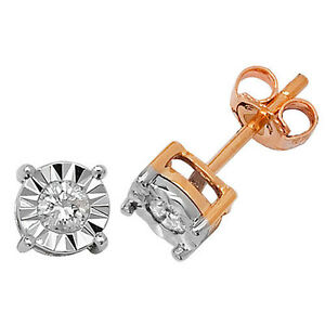 Diamond-Solitaire-Earrings-Yellow-Gold-0-25ct-Illusion-Set-Appraisal-Certificate