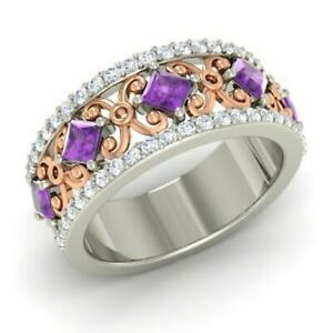 1.31 Ct Amethyst Princess Diamond Engagement 925 Sterling Silver Eternity Band