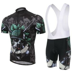 Skeleton-Cycling-Bike-Short-Sleeve-Clothing-Bicycle-Wear-Jersey-Bib-Shorts
