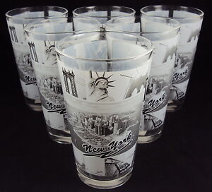 New York Subway Map Drinking Glass 16oz.Details About Zizo 60128 Drink Glass 16 Oz Set Of 6 New York City Black White Photo Collage