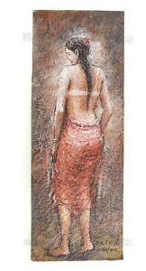 Pittura Erotico Donna Nuda Artista Noto Nepal Curiosa Capolavoro Unica 8689-k368