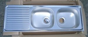 Details About Rieber Double Bowl Stainless Steel Kitchen Sink 48x17 Made In Germany
