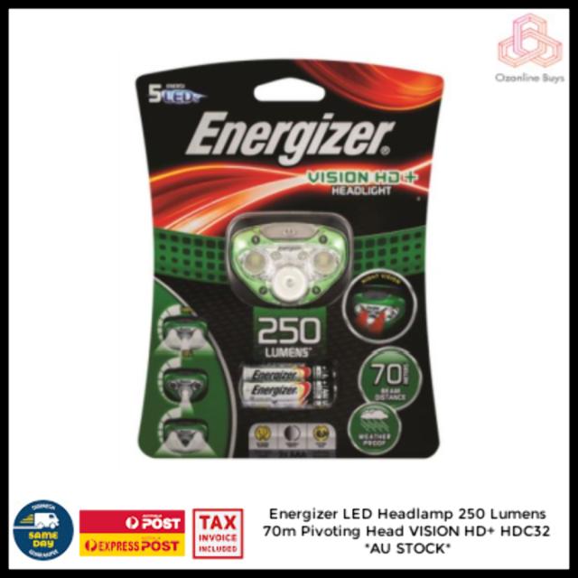 Energizer LED Headlamp 250 Lumens 70m Pivoting Head VISION HD+ HDC32 *AU STOCK*