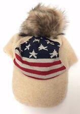 Winter USA American Flag Stars Stripes Faux Fur Beanie Hat Skull Ski CAP Beige