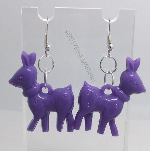 Purple Deer Doe Charms Plastic Kitch Earring Silver Plt D069 Acrylic