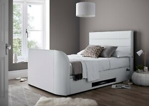 Cool Details About Annecy White Leather King Size Ottoman Media Tv Bed Holds Up To A 43 Tv Creativecarmelina Interior Chair Design Creativecarmelinacom