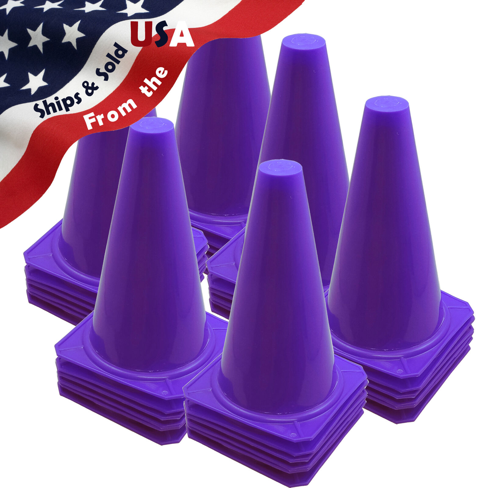 NEW  9  Tall PURPLE CONES Sports Training Safety Cone Horse Training Qty 36