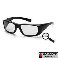 Pyramex Emerge 20 Full Magnifying Reader Safety Glasses Sb7910d20 Black Frame