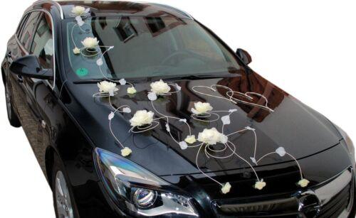 Brautauto Dekoration Autoschmuck Hochzeitsauto Rattan Autodeko 2 Herzen Rosen R7