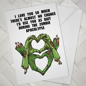Details About Funny Birthday CARD ZOMBIE Humour Partner Fiancee Fiance Male Female