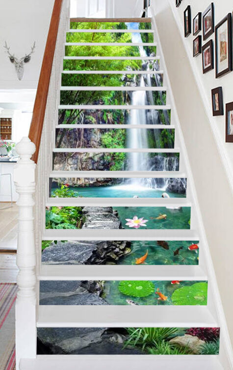3D Rivulet Pond Stair Risers Decoration Photo Mural Vinyl Decal WandPapier CA