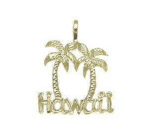 Treu 14k Festgelbgold Groß Diamantschliff Hawaiischer Palme Hawaii Anhänger Charme Uhren & Schmuck Edelmetall Ohne Steine