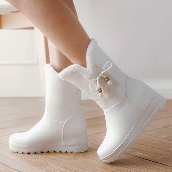 Casual Hidden Wedge Heels Warm Snow Boots Womens Sweet Girls Falts Ankle Boots s