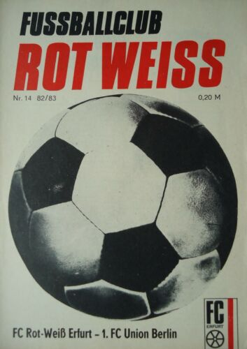Union Berlin Programm 1982//83 Rot Weiß Erfurt