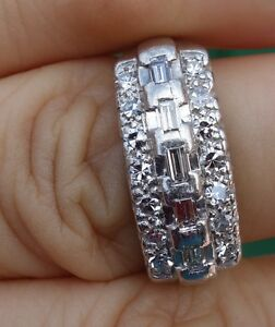 50ct Antique Vintage Diamond Right Hand Ring Wedding Band Platinum
