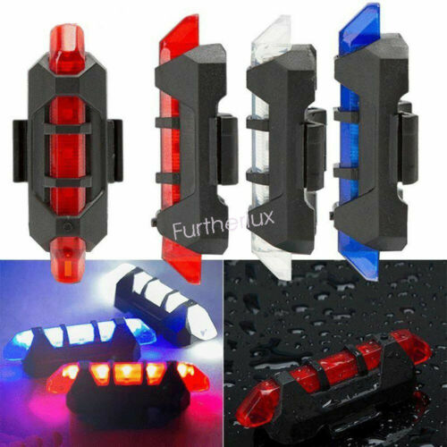 1*5LEDs Bike USB Front Rear Light Bicycle Cycling Rechargeable Tail Warning Lamp