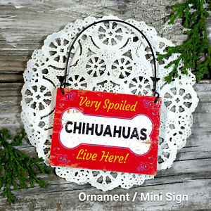 DecoWords-Wood-Dog-Ornament-Mini-Sign-SPOILED-CHIHUAHUAS-LIVE-HERE-Gift-USA-New