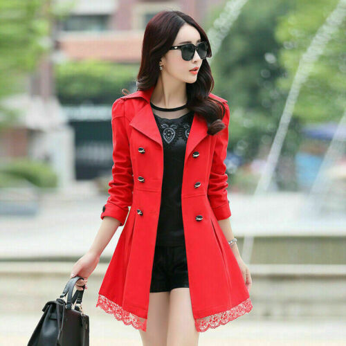 Women/'s Long Sleeve Slim Fit Trench Double Breasted Coat Lace Jacket Outwear