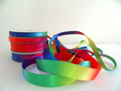 Satin Bright Rainbow Ribbon sold by the metre /& Free Postage